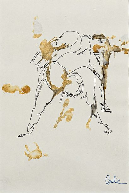 EMILION Coralie Untitled / Ink and coffee wash on paper / Signed lower right / 18...