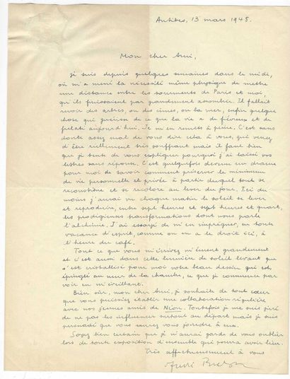 BRETON, André (1896-1966), écrivain et poète français.