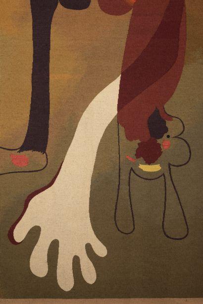 Joan MIRO (1893-1983) Escargot, femme, fleur et étoile, 1934-1936 Tapisserie tissée...