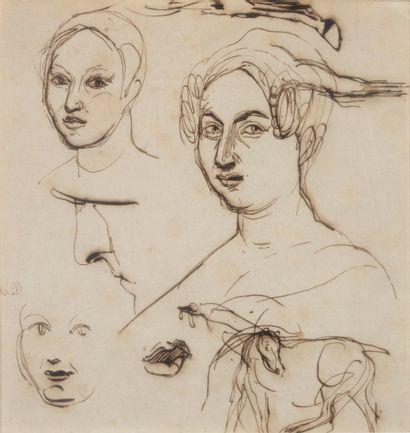 Eugène DELACROIX (1798-1863) Etudes de visages de femmes Encre sur papier (légèrement...