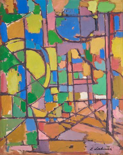 Emile LAHNER (1893-1980) # Composition, circa 1960 Huile sur toile, signée en bas...