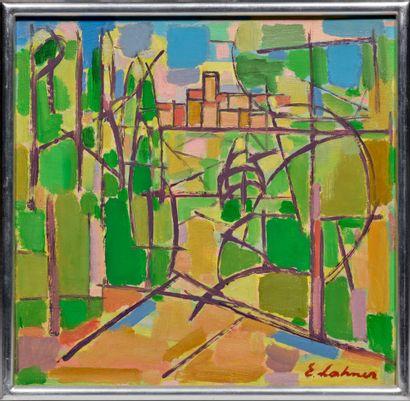 Emile LAHNER (1893-1980) # Paysage, circa 1960 Huile sur toile, signée en bas à droite...