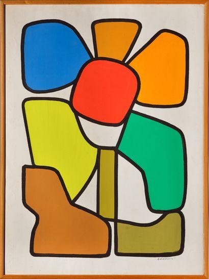 Emile LAHNER (1893-1980) # Fleur, circa 1970 Gouache sur papier, signée en bas à...
