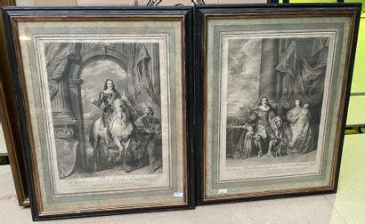 Deux gravures encadrées, Charles Ier d'Angleterre...