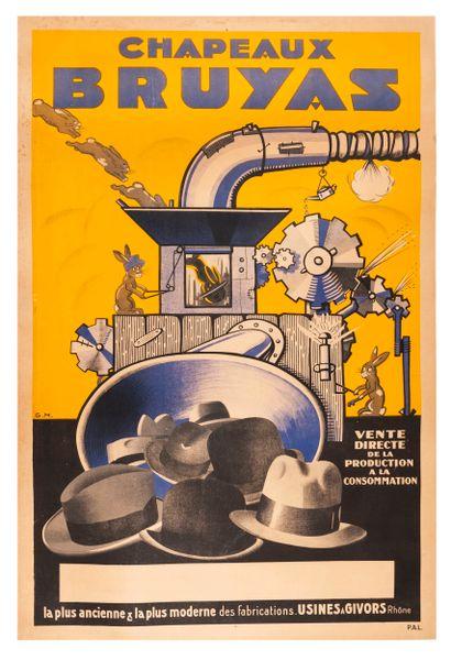 G.M. Chapeaux Bruyas. Affiche lithographique....
