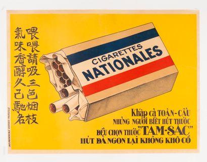 ANONYME. Cigarettes Nationales. Affiche lithographique...