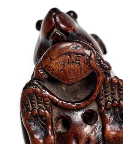 JAPON - Epoque EDO (1603 - 1868) Wooden netsuke, rat holding a chestnut between its...