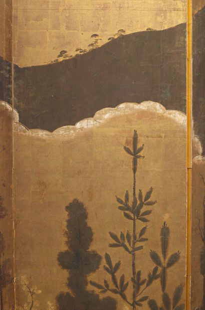 JAPON - Milieu Epoque EDO (1603 - 1868) Paravent à trois feuilles, encre polychrome...