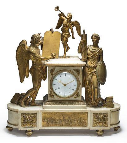 Horloge à décor révolutionnaire d'allégories...