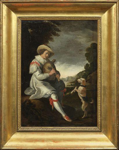 Ecole ITALIENNE, du XVIIIème siècle Un musicien dressant un chien Toile 52 x 37 ...