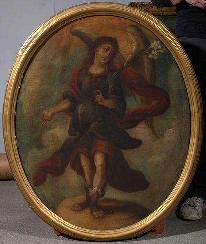 Ecole française, XVIIème siècle Ange de l'Annonciation Toile à vue ovale 87 x 69...