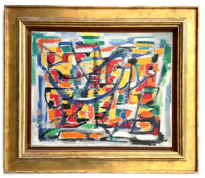 Elvire JAN (1904-1996) Composition Huile sur toile, trace de signature en bas à gauche...
