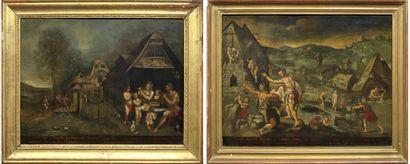 Ecole FLAMANDE, du XVIIème siècle suiveur de Martin de VOS The first ages of man...