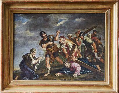 Ecole ITALIENNE, du XVIIème siècle atelier de Filippo LAURI La montée au Calvaire...