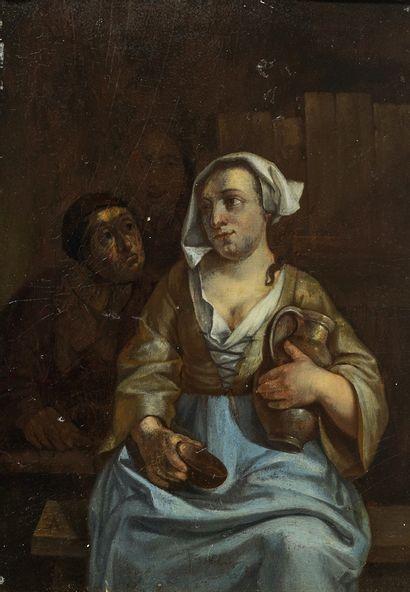 Nicolaes van HAFTEN (Gorinchem 1663 - Paris 1715) Couple de paysans Panneau de chêne,...