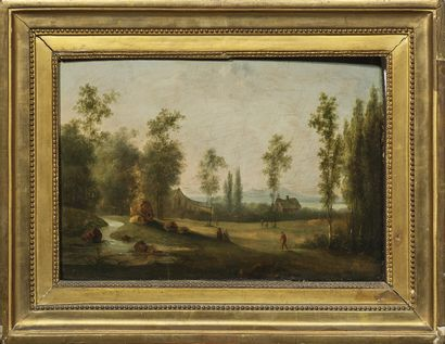 Ecole FLAMANDE, fin du XVIIIème siècle Landscape with a farm and walkers Oak panel,...
