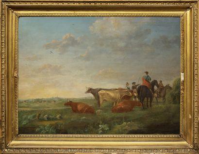 Ecole HOLLANDAISE, du XVIIIème siècle d'après Albert CUYP Paysage au troupeau, cavaliers...