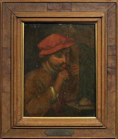 Ecole FLAMANDE, du XVIIIème siècle Paysan se taillant la moustache Panneau de chêne,...