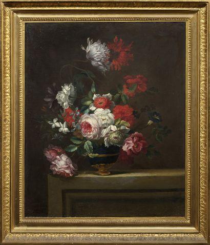 Ecole FRANCAISE, de début du XIXème siècle Bouquet de fleurs sur un entablement Toile...
