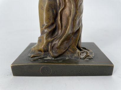 Louis Ernest BARRIAS (1841-1905) La Nature se dévoilas devant la Science Bronze patiné...
