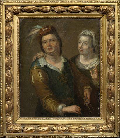 Ecole de HAARLEM, du XVIIIème siècle Chanteuse et musicien 51 x 40 cm Restaurati...