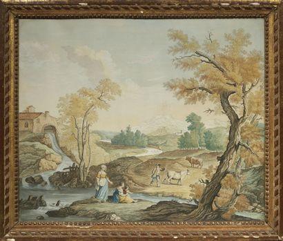 ECOLE HOLLANDAISE, vers 1800 Famille de bergers près d'une rivière Plume et encre...