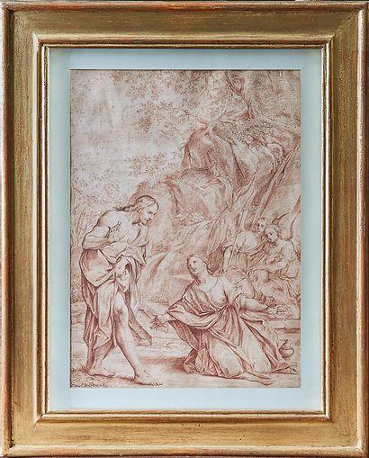 Attribué à Daniel PRINSTER Le christ apparaissant à Marie Madelaine au tombeau Sanguine...