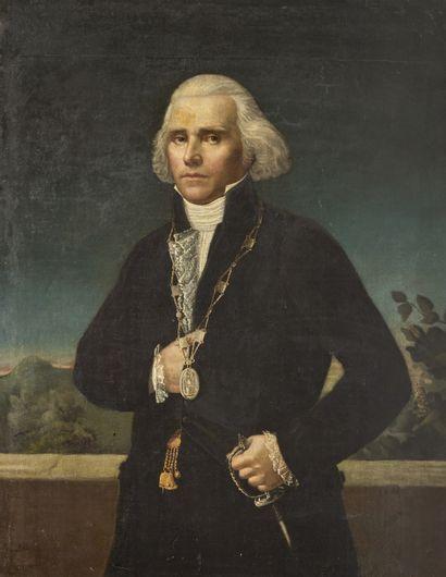 École SUD AMÉRICAINE, vers 1780 Portrait d'un gentilhomme Toile 117 x 89 cm (restaurations)...