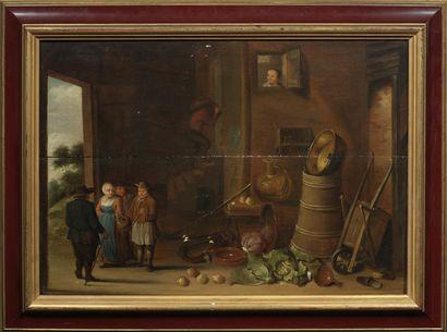 Ecole du Nord, XVIIème Siècle Interior scene Oil on two parquet panels 42,5 x 58,5...