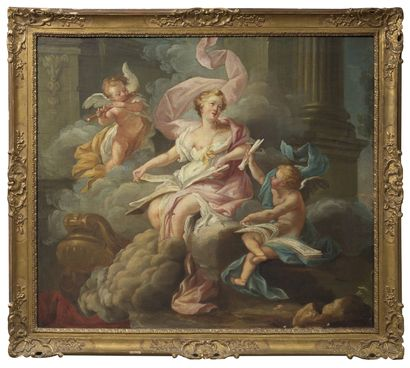 École française, XVIIIème siècle La lecture Toile 82,5 x 96,5 cm (Rentoilée, manques,...