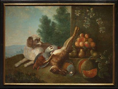 Ecole FRANCAISE, du XVIIIème siècle suiveur de Claude-François DESPORTES Dog guarding...