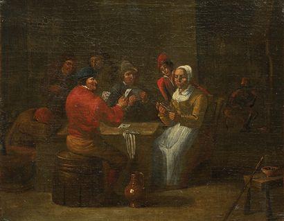 Ecole ITALIENNE, du XVIIIème siècle dans le goût de David TENIERS Les joueurs de...