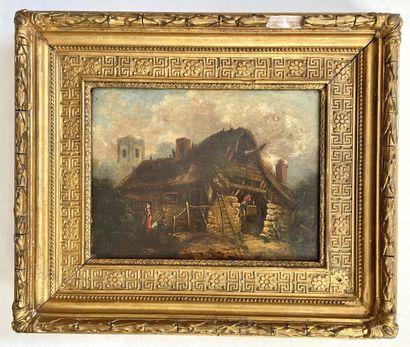 Ecole HOLLANDAISE, du XIXème siècle dans le goût de Adriaen van OSTADE Extérieur...