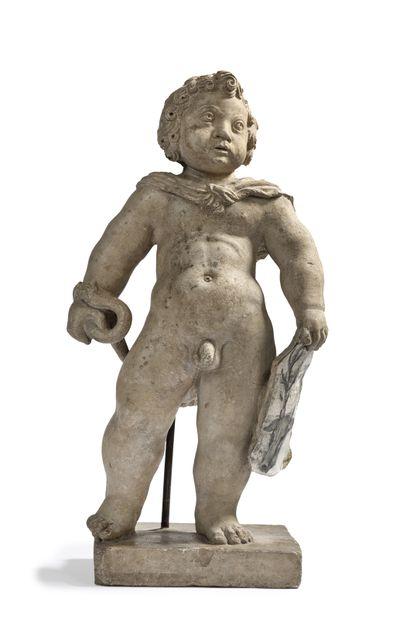 Hercule enfant en pierre calcaire marbrière...