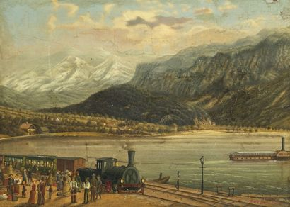 G. v. d. BECKE Bord de lac suisse, 1880