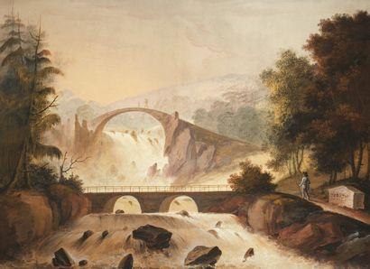 ÉCOLE FRANCAISE, début du XIXème siècle Paysage de rivière avec un château Paysage...