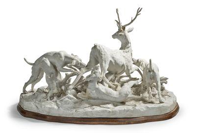 PARIS Groupe en biscuit de porcelaine d'après le modèle de Sèvres représentant un...