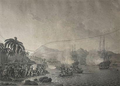 Mort du Capitaine Cook Gravure en noir (taches)...