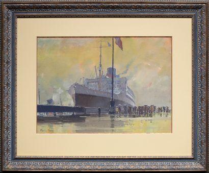 MARIN-MARIE (1901-1987) L'arrivée du paquebot Ile-de-France aux docks de New-York...