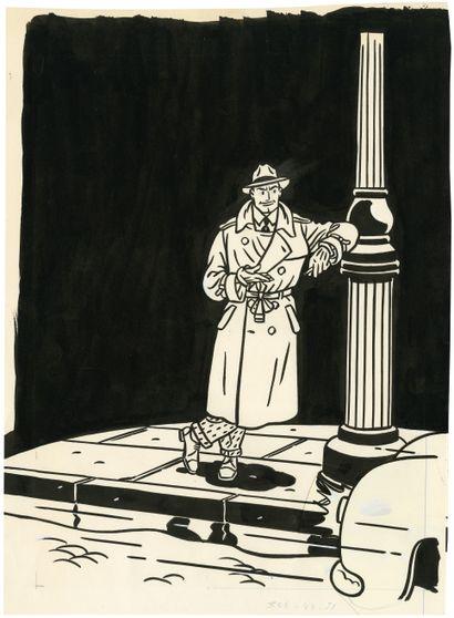 FLOC'H (né en 1953) Sans titre Encre de Chine et collage sur papier. 43x32 cm.