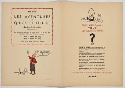 Tintin - Publicité: Double feuillet publicitaire...