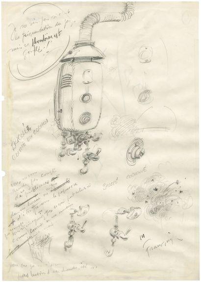 ANDRE FRANQUIN (1924-1997) Mine de plomb sur papier pour trois études. 21,5x18,7...