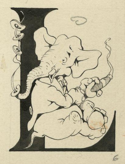 Edmond-François CALVO L.L.S Encre de Chine sur papier pour cet ensemble de 3 lettrines....