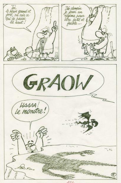 BARA (1923-2003) Cro-Magnon - Le monstre de la montagne Feutre sur papier pour les...