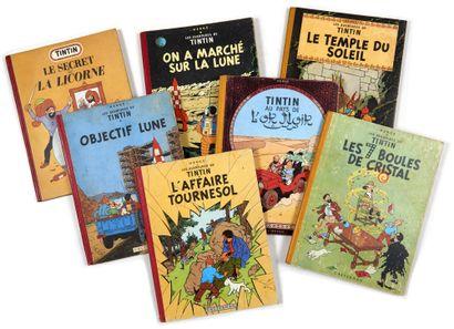 Tintin - Ensemble de 7 albums: 7 boules de...