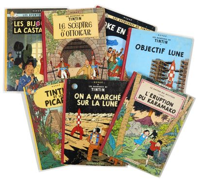 Tintin - Ensemble de 7 albums: Picaros (EO),...