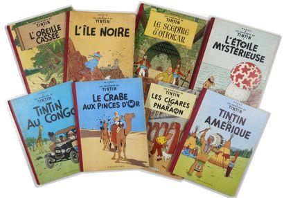 Tintin - Ensemble de 8 albums: Oreille (B12bis),...