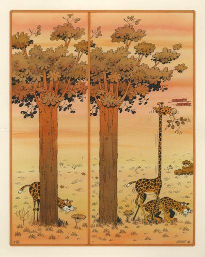 Sergé ERNST (né en 1954) Clin d'oeil n° 510 Encres de couleur sur carton. Signé et...