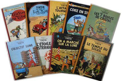 Tintin - Ensemble de 9 albums: 7 boules de...