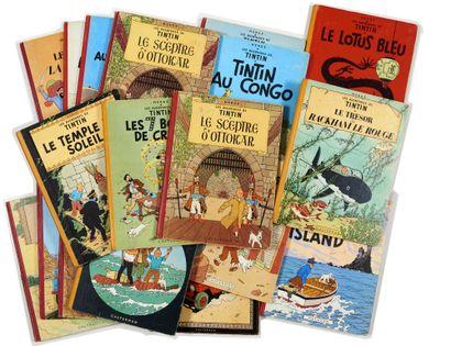 Tintin - Ensemble de 19 albums: Lotus, Coke,...